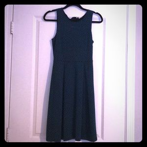 41 Hawthorn polka dot blue black sleeveless dress